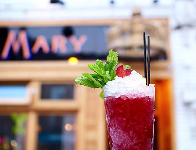 "This beauty's last week on the menu @queenmarytavern – Sunday Funday anyone?  The ""Dandy Main"" – Rhine Hall Plum Brandy, Lustau Sherry, Blackstrap Rum, Blueberry, Lemon, & Ango"