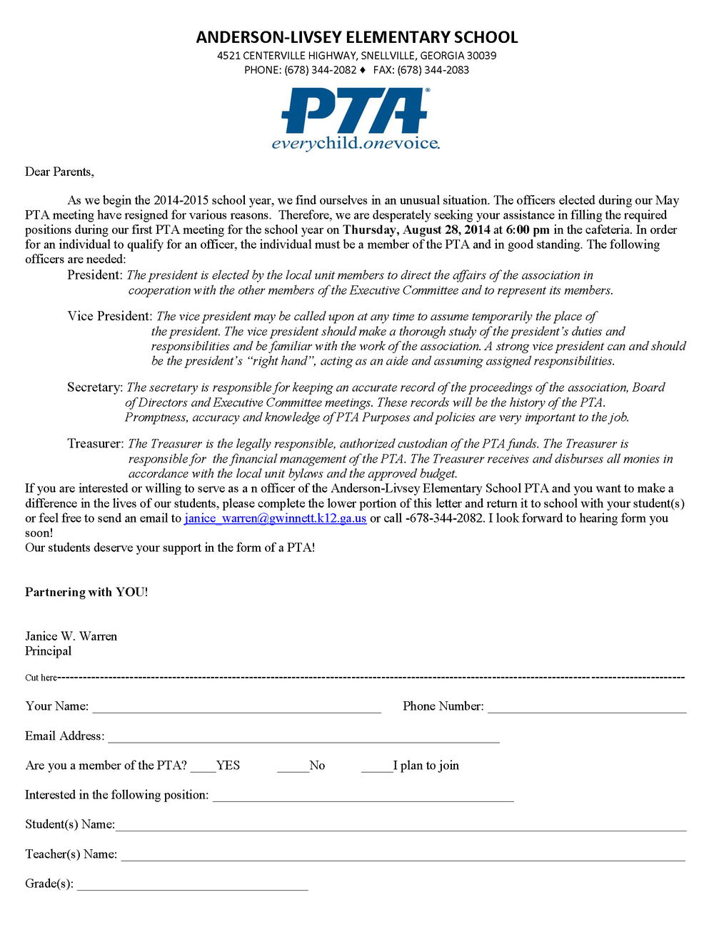 Parents, we need your help with PTA (click the image to read and download)