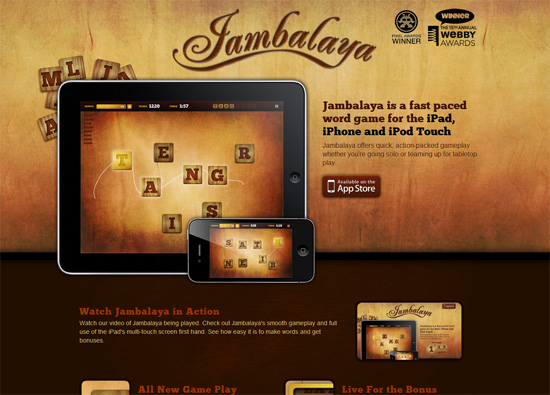 iOS app website design: Jambalaya