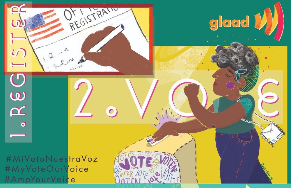 GLAAD Voter Registration Campaign.  #MiVotoNuestraVoz
