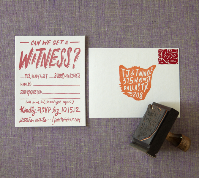 RSVP postcard front and back plus custom return address rubber stamp.
