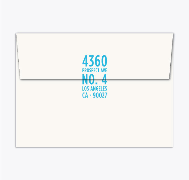 A7 envelope + address rubber stamp