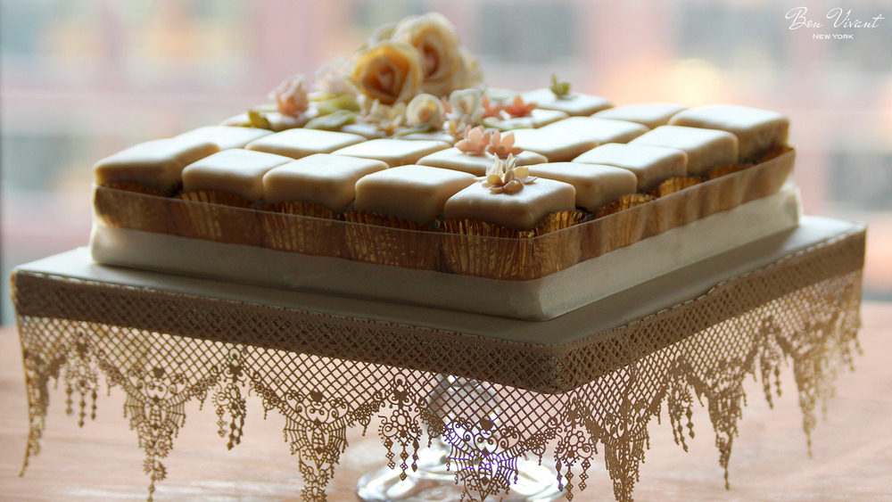 Ivory & Rose Wedding Collection - petit cakes with sugar lace details