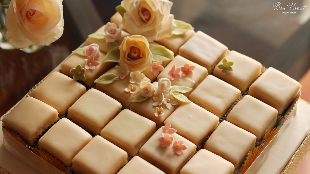 Ivory & Rose Wedding Collection - petit cakes with sugar rose and flowers