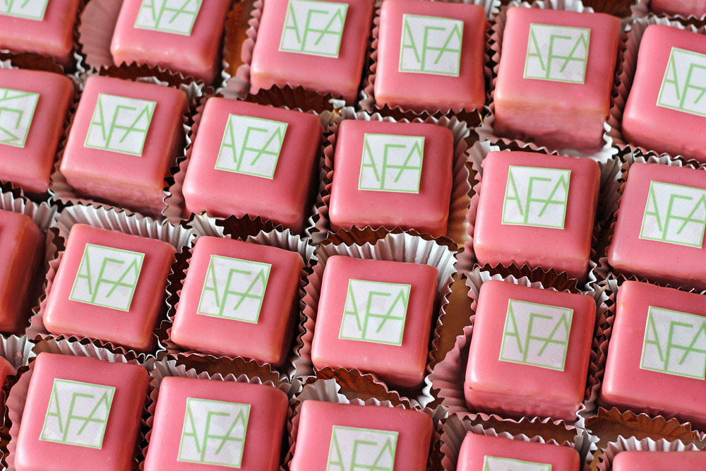 Petit cake, petit four favors with printed logo for corporate and events