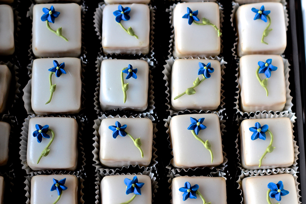 Blue Demitasse Petit Fours