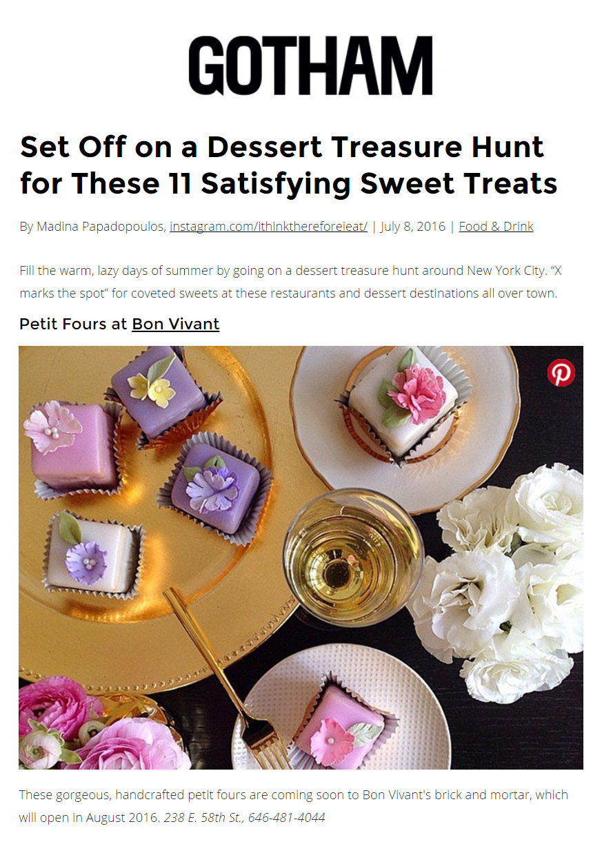 Set Off on a Dessert Treasure Hunt for these 11 Satisfying Sweet Treats - Madina Papadopoulos, Gotham Magazine, July 2016