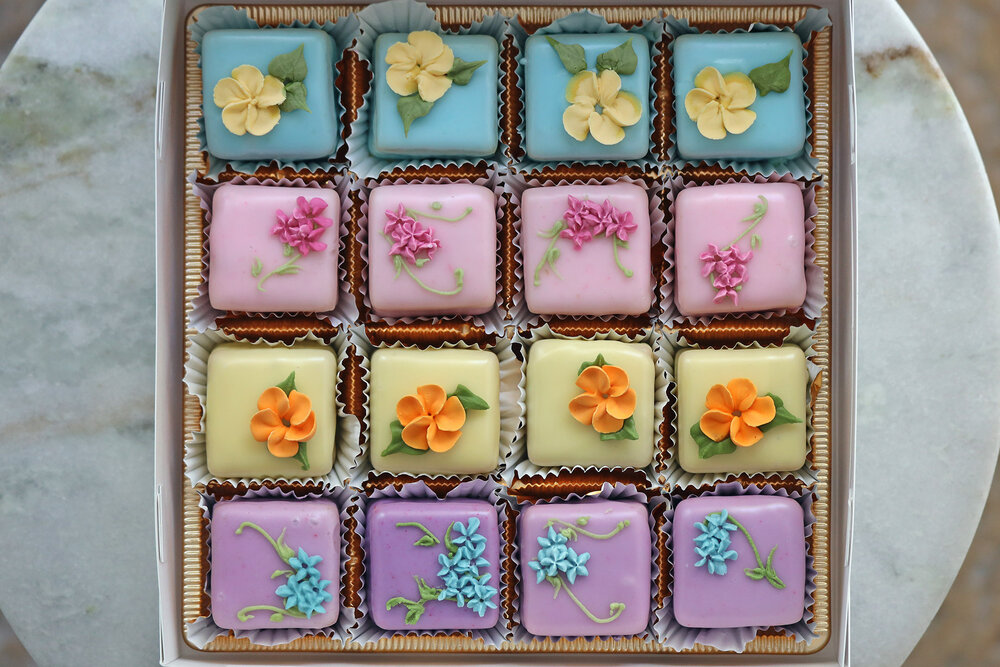box of 16 assorted petit cakes manhattan delivery cake. Black Bedroom Furniture Sets. Home Design Ideas