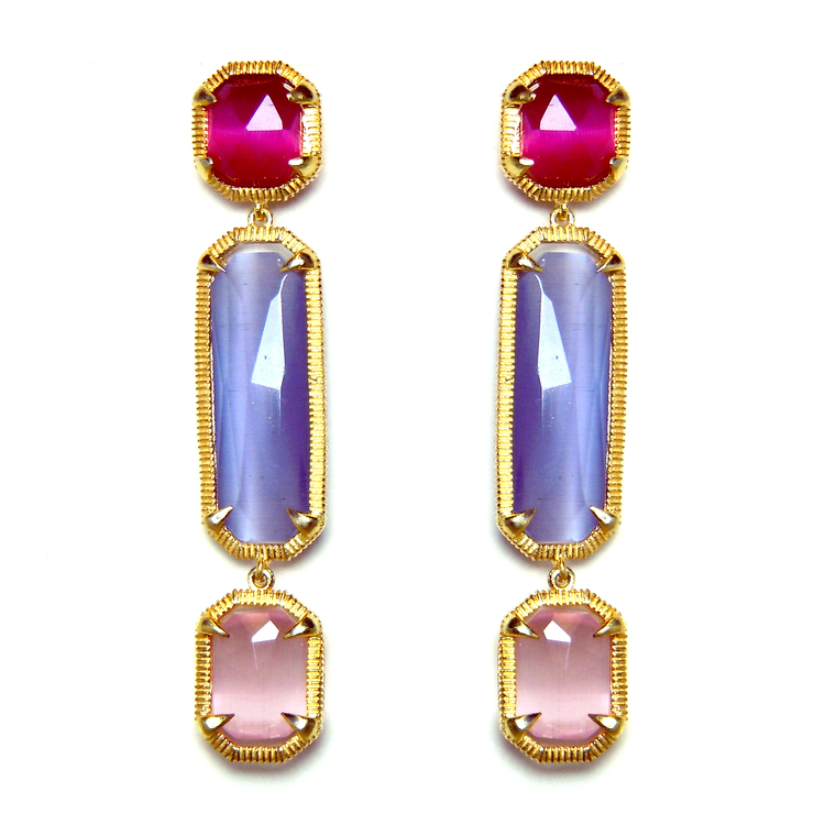 The Catherine Long Earrings in Shimmering Rose, Purple Lilac and Rose.jpeg