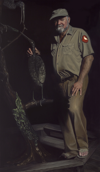 "Ed Carlson, Director Emeritus, Audubon's Corkscrew Swamp Sanctuary 72"" x 42"" Oil on Board ©Nicholas Petrucci 2012"