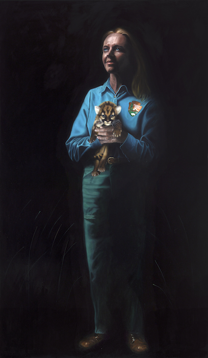 "Deborah Jansen, Florida Panther Biologist 72"" x 42"" Oil oon Board©Nicholas Petrucci 2012"