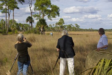 Connie and Sandy filming Deb Jansen at Big Cypress. Omer standing by.