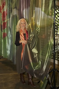 Connie Bransilver with her sheer orchid banners ©ConnieBransilver