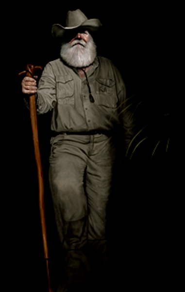 "Clyde Butcher, Photographer of the Everglades 72"" x 42"" Oil on Board ©Nicholas Petrucci 2010"