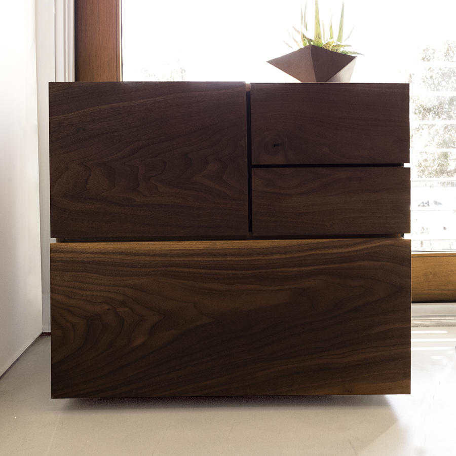 Modern Wood and Metal Filing Cabinet