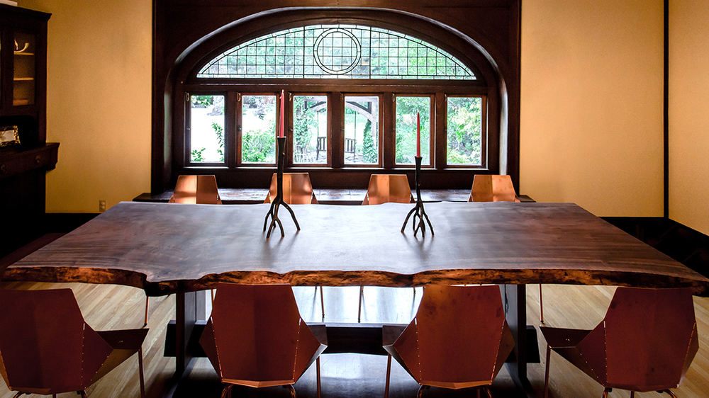 Claro Walnut Live Edge Dining Table