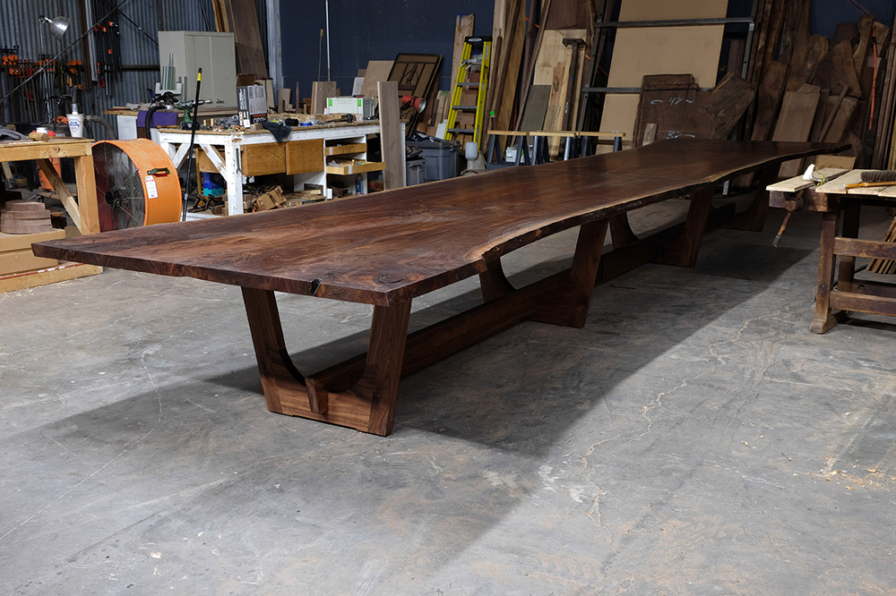 A Live Edge Walnut Book Matched Conference Table Taylor Donsker Design - Conference table bases wood