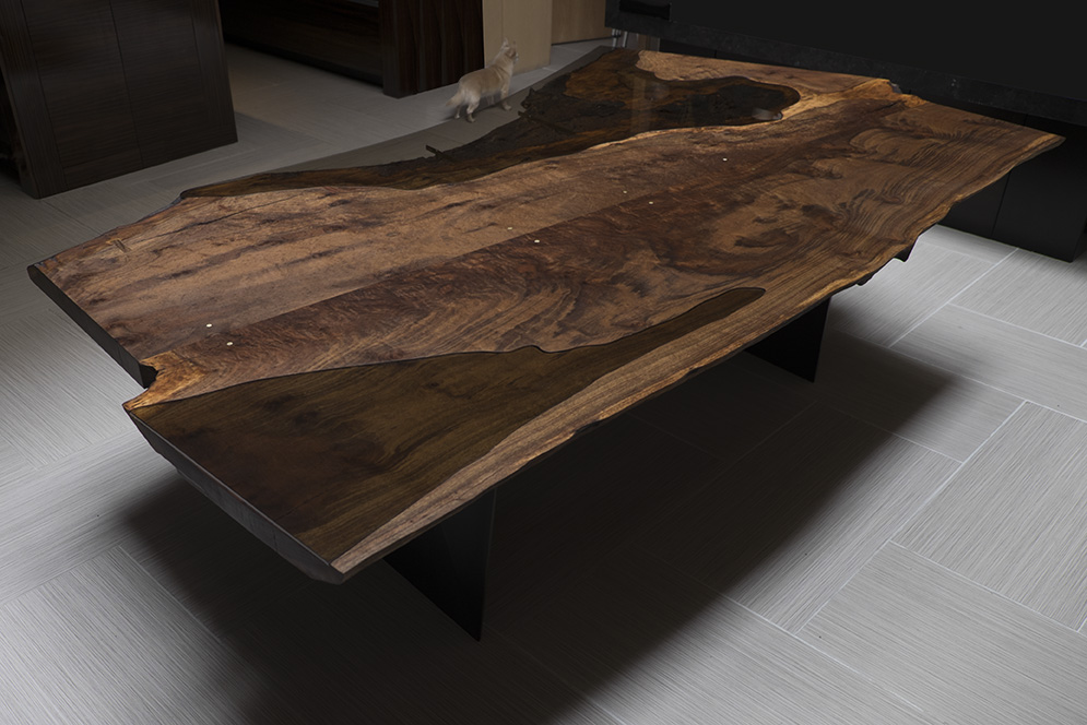 Live edge corset dining table lands in chicago taylor for Live edge wood slabs new york