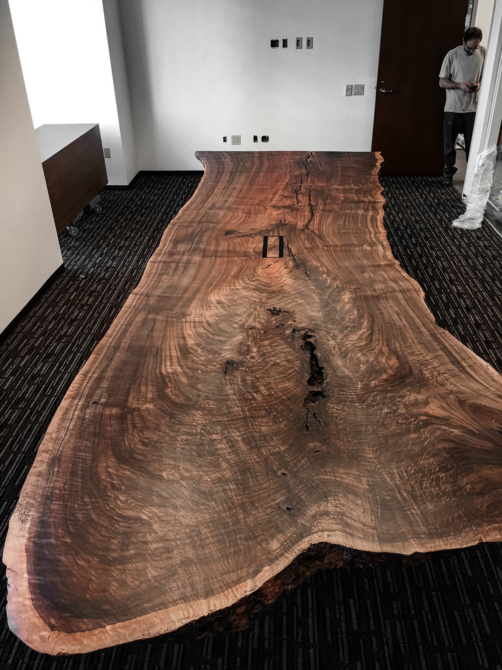 Massive live edge claro walnut conference table taylor for Live edge wood slabs new york