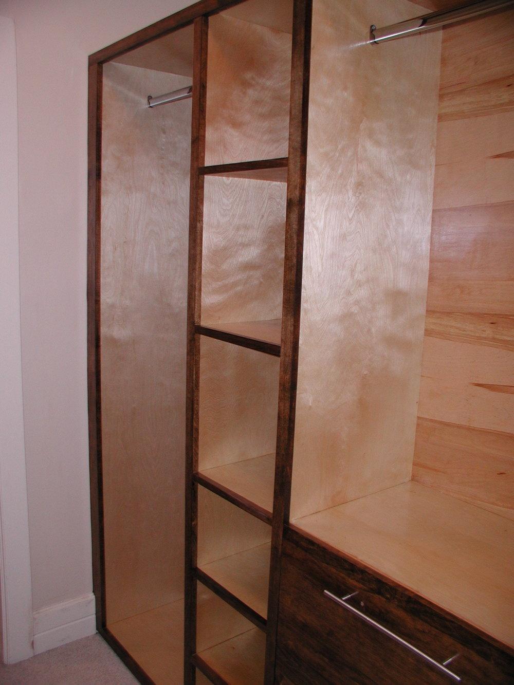 Custom wood closet.