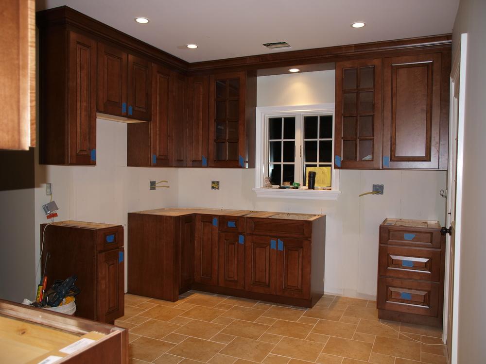 Custom kitchen being built.