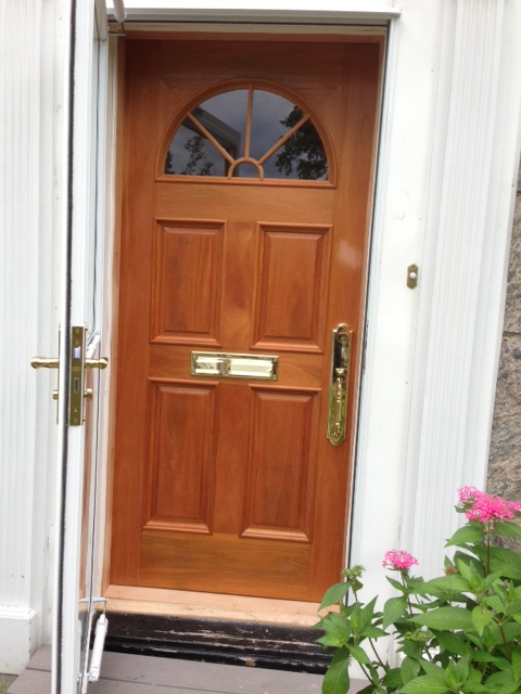 Custom wood front door.
