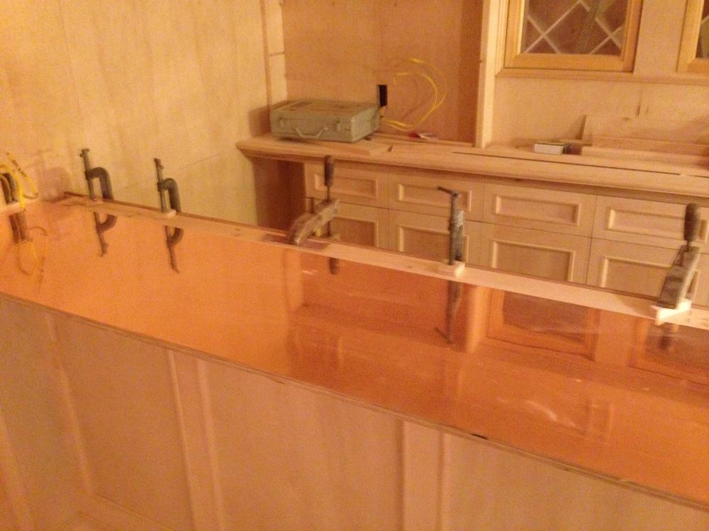 Custom built bar.