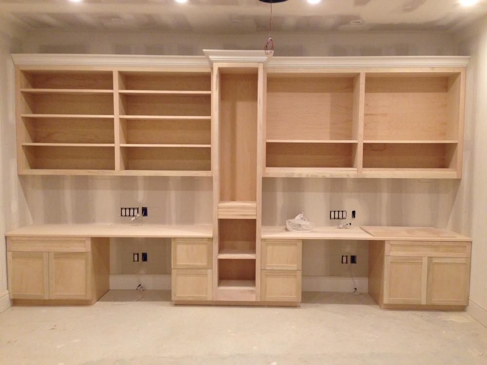 Custom built desks & shelves.