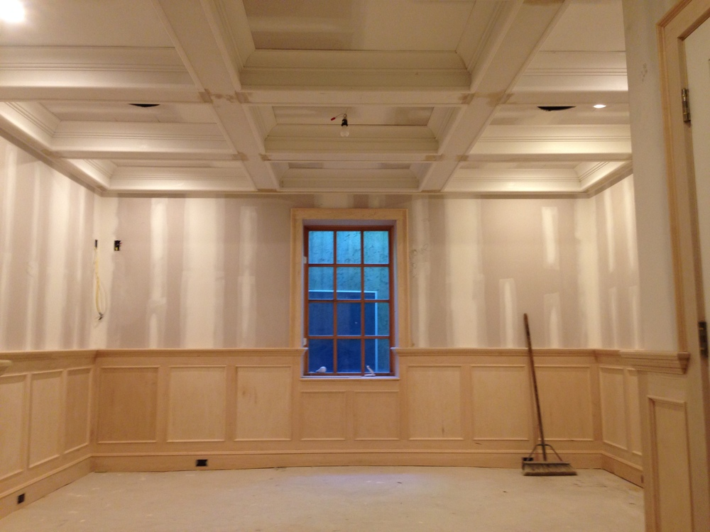 Maple Wood Paneling for Shuffleboard Room.