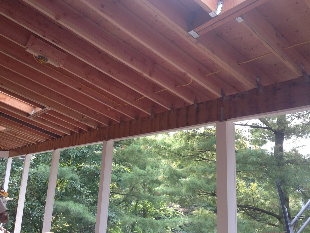 Roof framing of the porch.