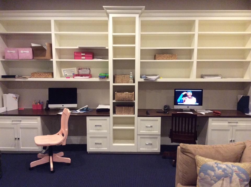 Custom built desks & shelves finished.
