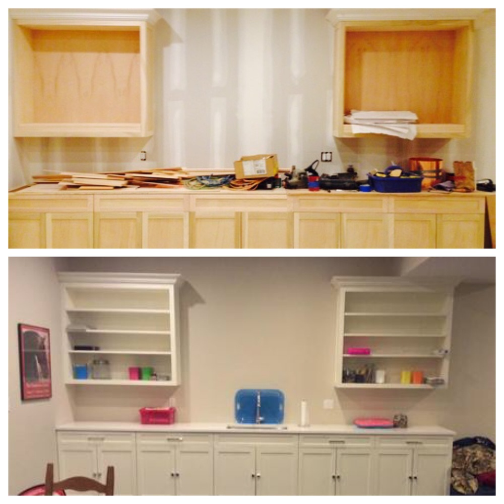 Custom wood cabinetry before and after