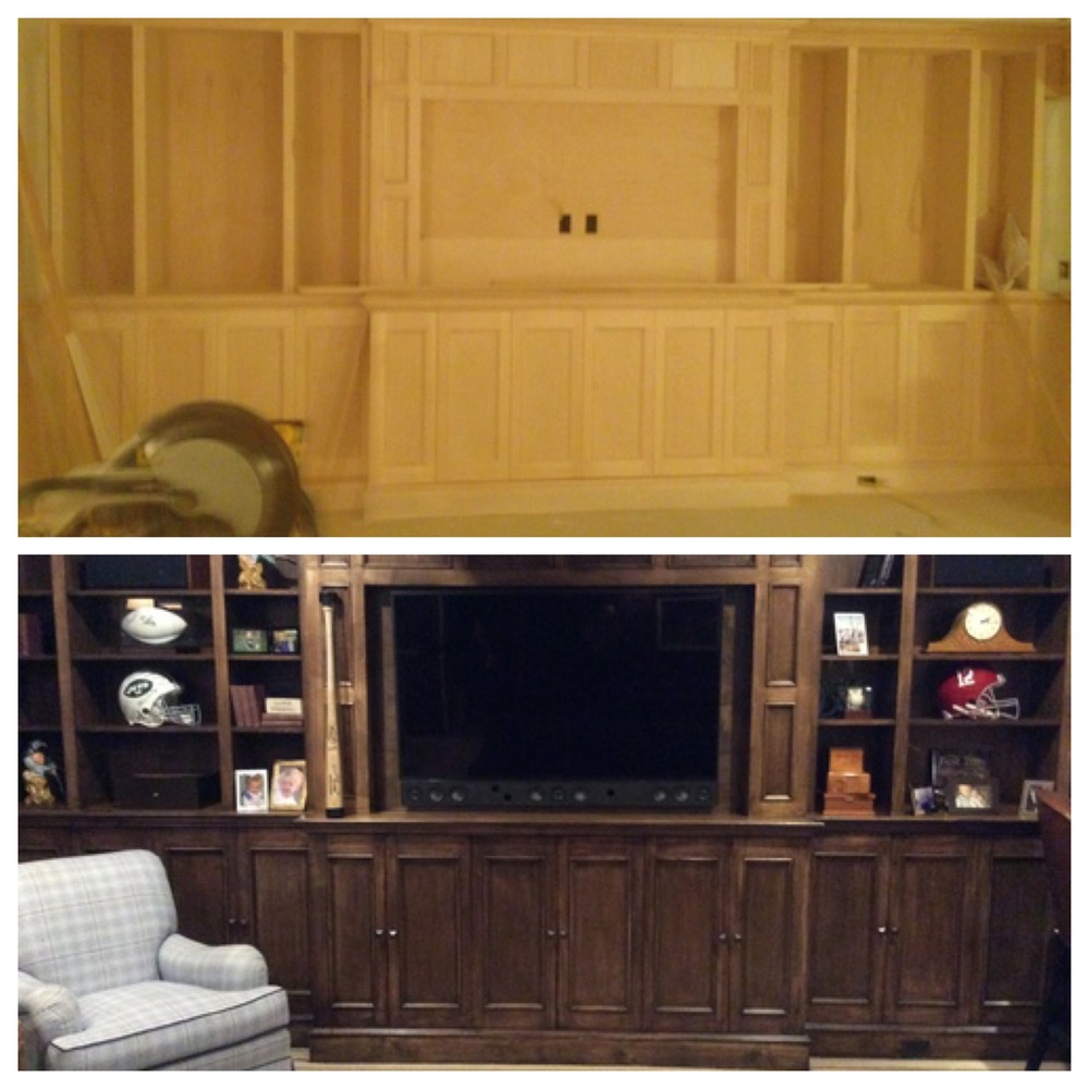 Custom build in 72 inch TV before and after