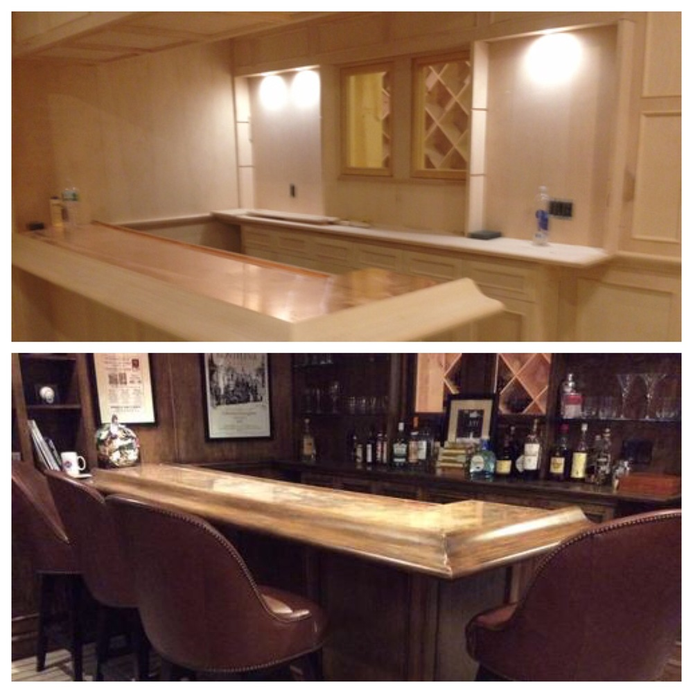 Custom built bar before and after