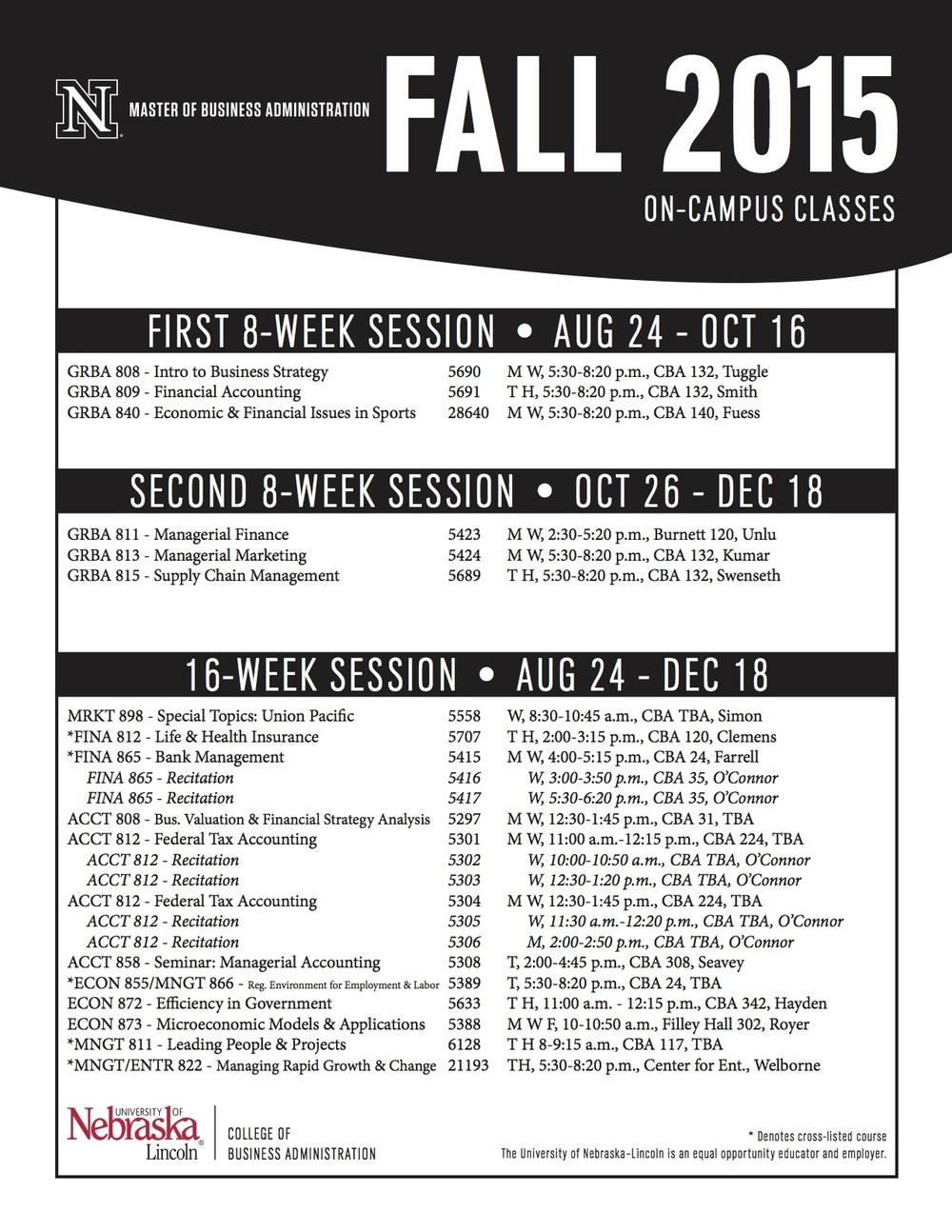 Fall 2015 class schedule