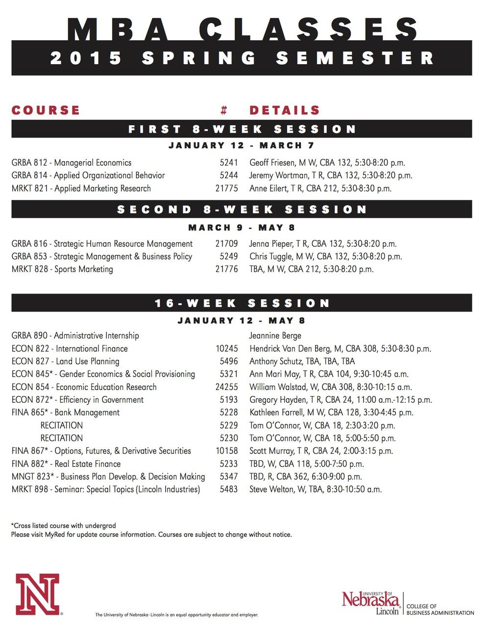 Spring 2015 Class Schedule