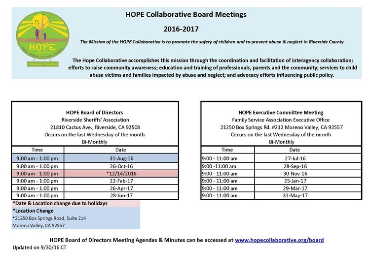 Board Meeting Agenda & Minutes — Hope Collaborative