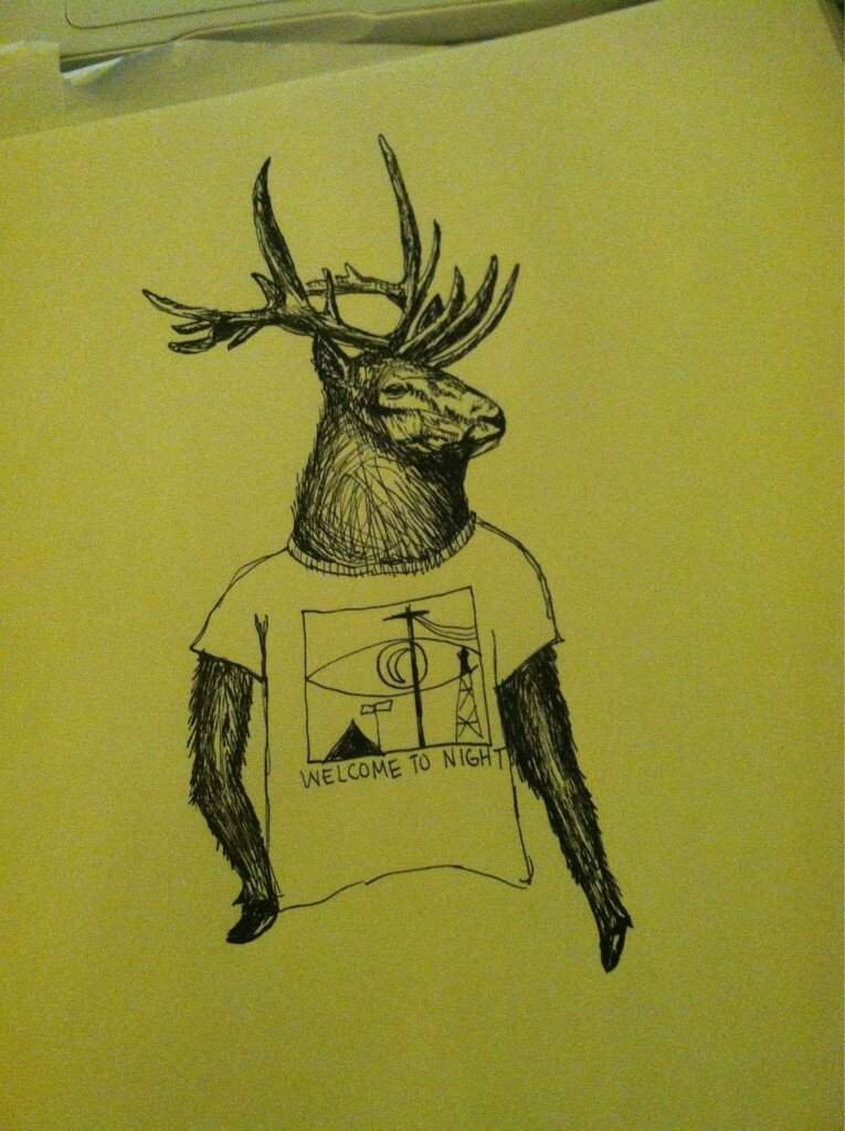 An elk wearing a Night Vale T-Shirt from Twitter follower    @  SpineIessCrow