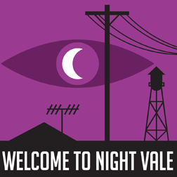 welcome to night vale logo featuring eye with crescent moon pupil, power lines, and water tower