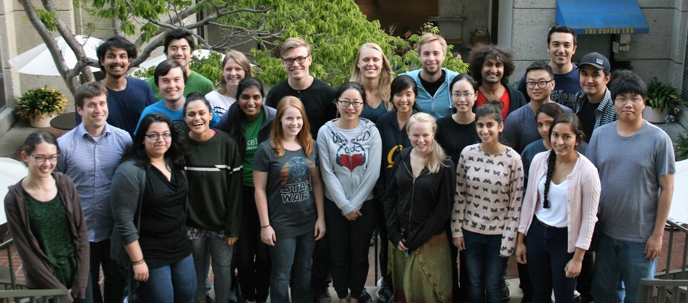 Left to right (Front row): Hannah, Evan, Alisha, Shivaani , Divya, Jenna, Pei, Su, Molly, Yi-Lin, Sarah, Gloria, Monica, Dat. (Back Row): Feroz, Ben, Parker, Ali, Steven, Julia, Vince, Rishi, Wootack, Vik, Kaveh.