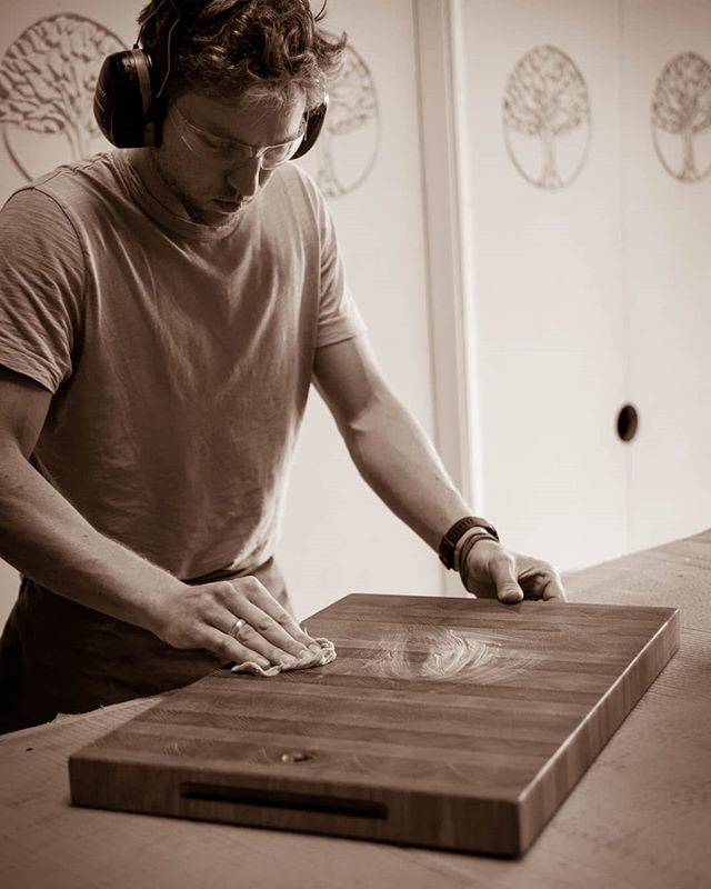 PROCESS . . . After a thorough soak in a mineral oil bath, each of our boards is sealed with a top coat of organic beeswax to lock in the oil and protext it from the elements.
