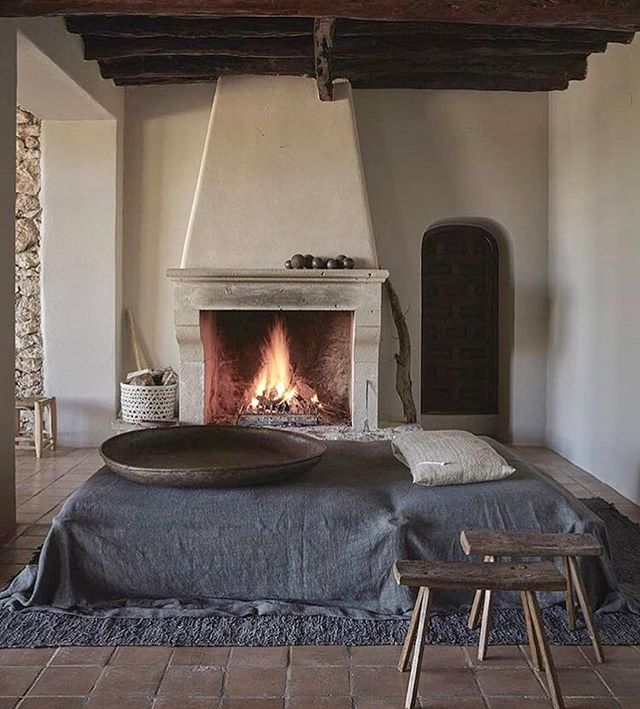 INSPIRATION • Because it's kinda cold by California standards, today's inspiration is a room that has a source of heat, unlike my office.  Cold office and big pile of scrap wood. Gets me thinking🤔 • La Granja Hotel in Ibiza, Spain.