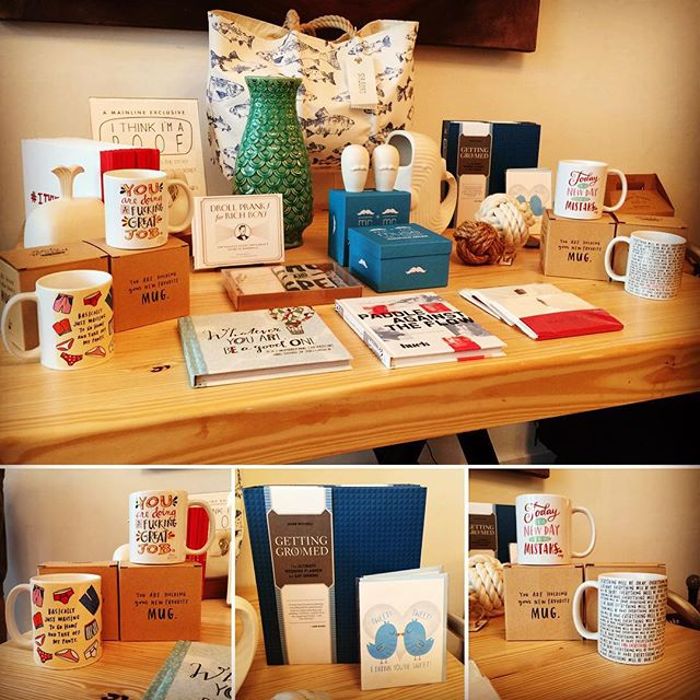 The Mainline #StationeryBar is loaded with #newarrivals (like these mugs from @emilymcdowell_) and  #mainlineexclusives (like the #ithinkimapoof book by @samleightondore  and #GettingGroomed #Gaywedding planner)! There's something for everyone!  #Pensacola #DowntownPensacola #shoplocal #shopsmall #ShopPalafox #mainlinegeneral #moderngeneral #stationery #emilymcdowell #samelove #jonathanadler #seabags #seabagsighting