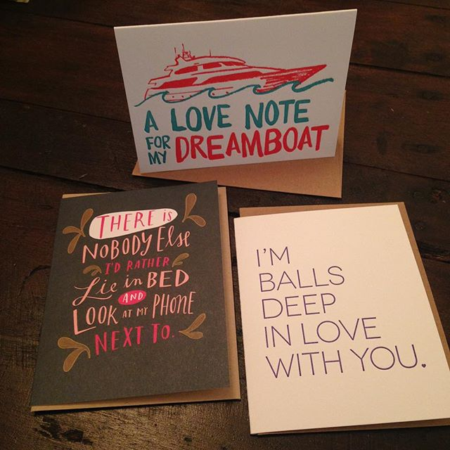 Surprise your sweetie with a just because card by @emilymcdowell_ or @wishboneletterpress and tell someone you love them! Remember the entire store is 50% off today and tomorrow! (Art not included in sale) #bestofthecoastsale #stationery