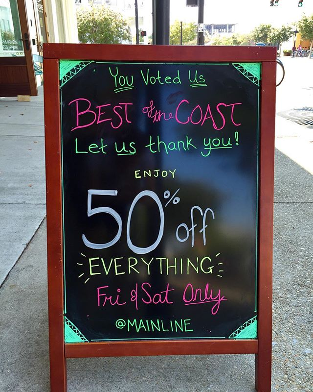 Hurry in! Only a few hours left! Tell your friends! #Pensacola #downtownpensacola #sogopcola #shopsogo #bestofthecoastsale #bestofthecoast2015 #mainlinearthouse #shopsmall #shoplocal #treatyoself