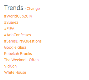 Trending on Twitter, as of 08:20 pm CST, June 24, 2014