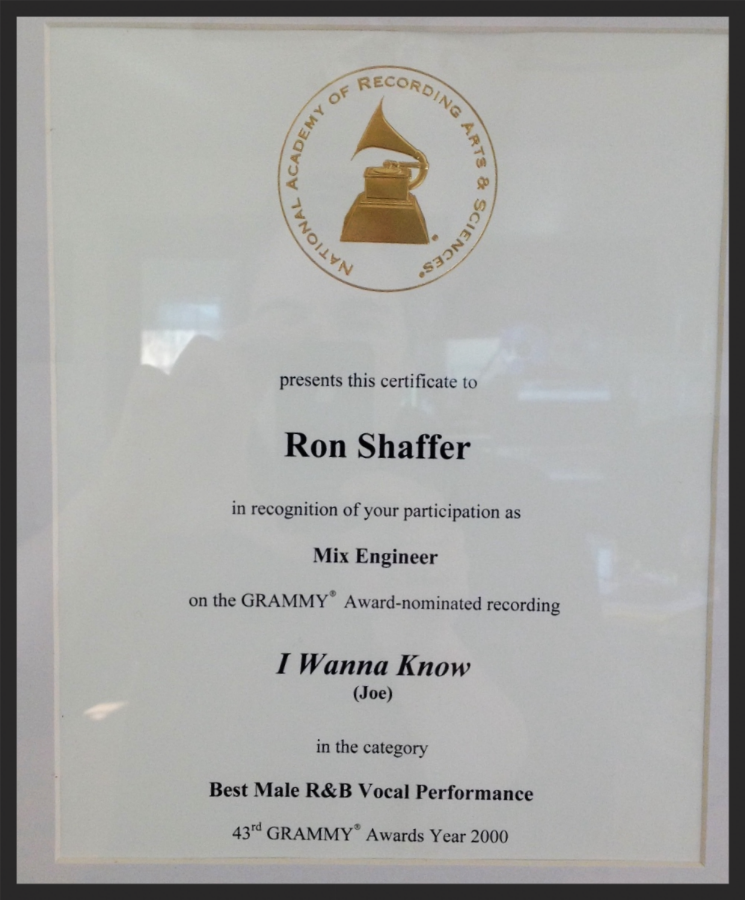 "Grammy nomination certificate for mixing Joe's hit single ""I Wanna Know""."