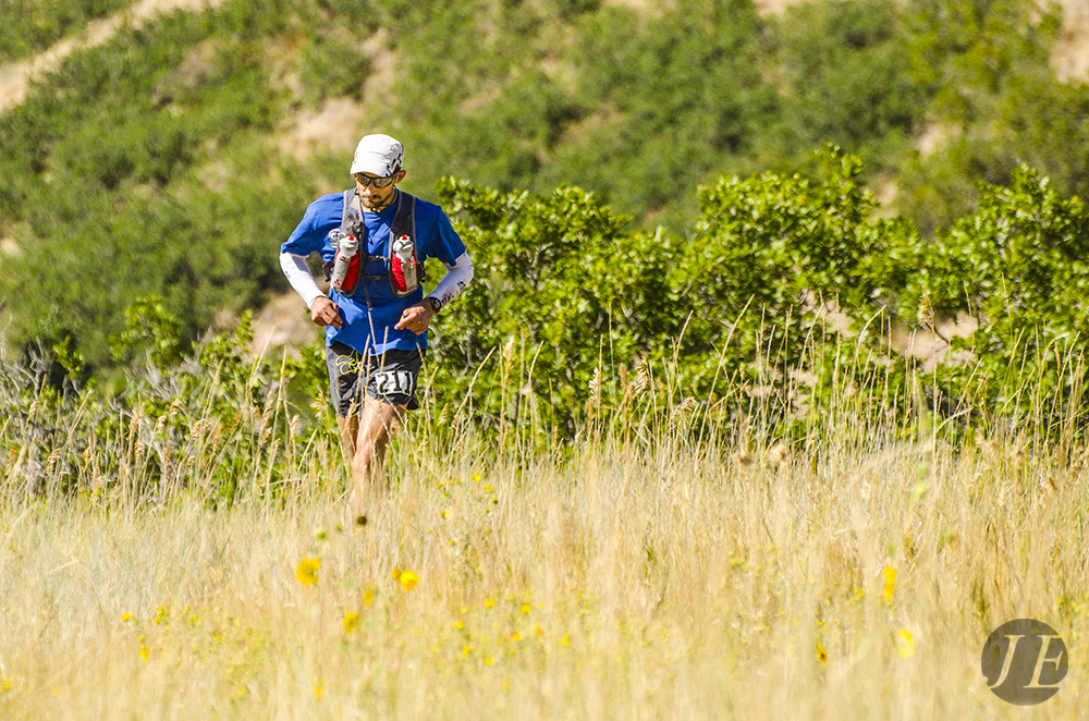 Jared Campbell running in to Lambs Canyon aid station (mile 52) during the Wasatch 100.