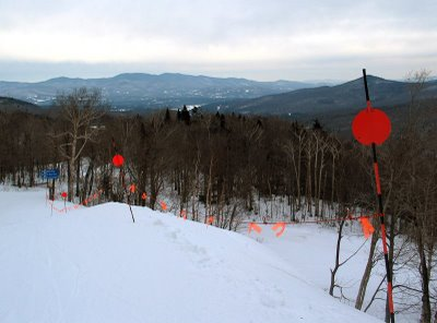 Boo line across West Run at Stowe Mountain Resort