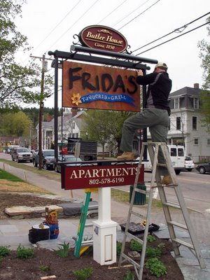 Frida's Taqueria + Grill sign goes up on Main Street in Stowe, VT